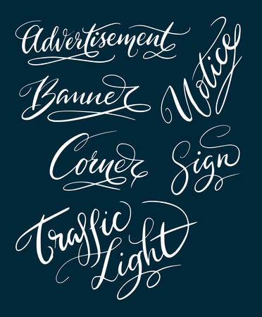 Advertisement and trafficlight hand written typography. Good use for logotype, symbol, cover label, product, brand, poster title or any graphic design you want. Easy to use or change color