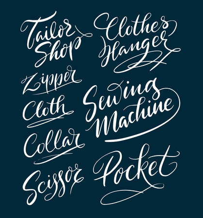 Tailor shop and machine hand written typography. Good use for logotype, symbol, cover label, product, brand, poster title or any graphic design you want. Easy to use or change color