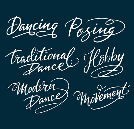 spontaneously: Modern and traditional dance hand written typography. Easy to use or change color, vector illustration.