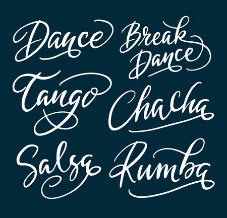 Tango dance and salsa hand written typography. Easy to use or change color, vector illustration.