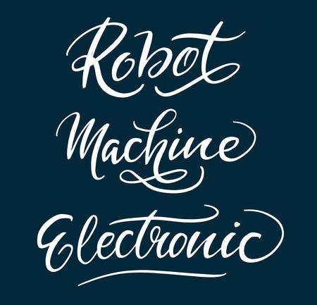spontaneously: Robot and machine hand written typography. Good use for logotype, symbol, cover label, product, brand, poster title or any graphic design you want. Easy to use or change color