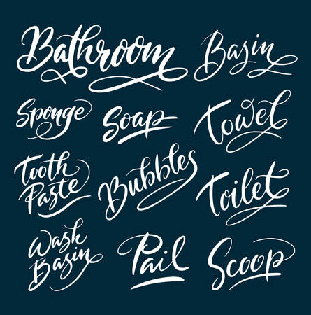 Bathroom and soap hand written typography. Good use for logotype, symbol, cover label, product, brand, poster title or any graphic design you want. Easy to use or change color