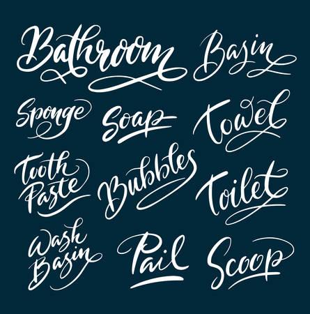 Typographie de salle de bain et savon écrit à la main. Bon usage pour le logo, le symbole, l?étiquette de couverture, le produit, la marque, le titre de l?affiche ou le graphisme de votre choix. Facile à utiliser ou changer de couleur