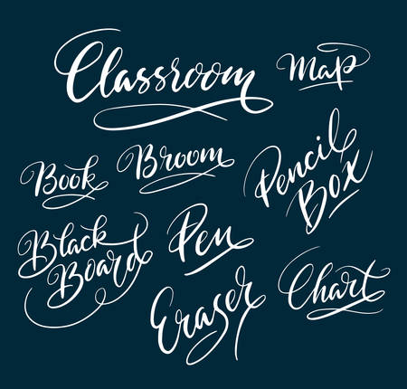 Classroom and map hand written typography. Good use for logotype, symbol, cover label, product, brand, poster title or any graphic design you want. Easy to use or change color