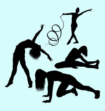 sexual anatomy: Gymnastic sport activity silhouette Illustration
