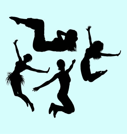 sexual anatomy: Gymnastic teenager girl action sport silhouette.