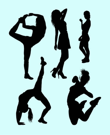 sexual anatomy: Fitness attractive girl sport silhouette.