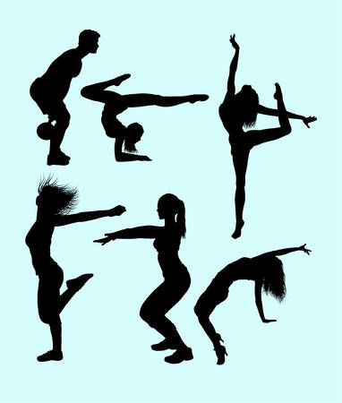 sexual anatomy: Sport activity attractive male and female action silhouette. Illustration