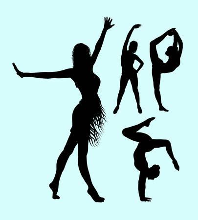 sexual anatomy: Yoga sport attractive woman silhouette.