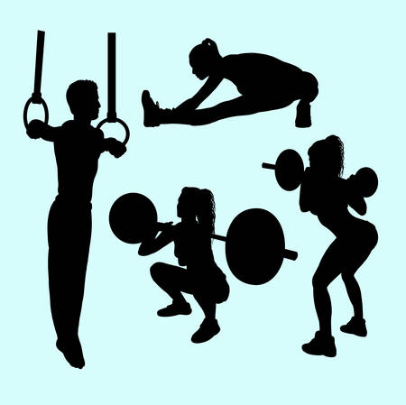 lifter: Gymnastic and ring sport silhouette. Illustration
