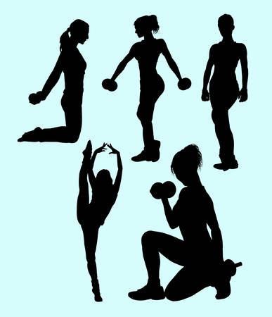 sexual activity: Girl fitness sport activity silhouette.