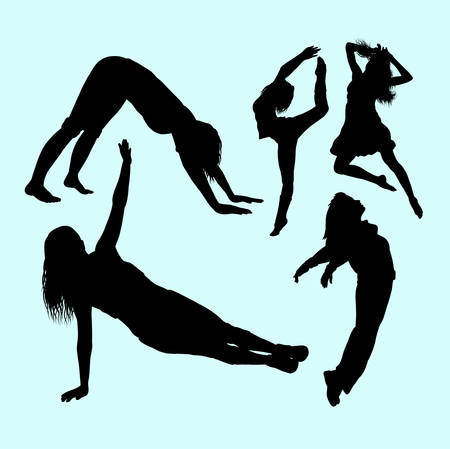women sport: Dancing and sport activity women action silhouette.