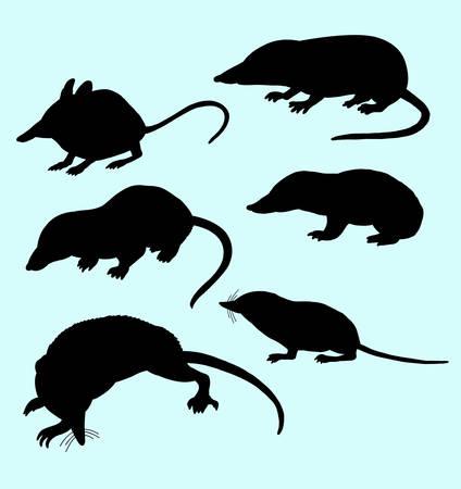 vertebrate: Rat and mice silhouettes.