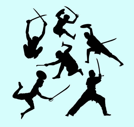Martial art male and defense action silhouette. Illustration