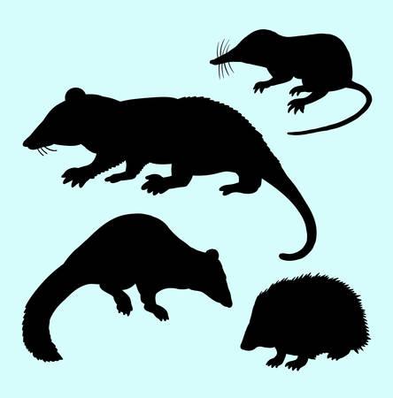 vertebrate: Rat mice weasel and hedgehog silhouettes.