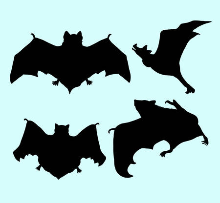 Bat animal flying silhouette. Illustration