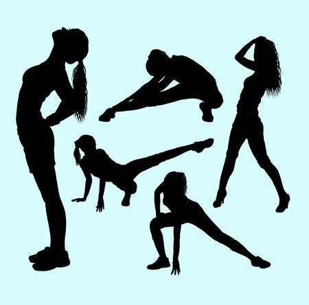 signo pesos: Female pilates sport exercise healthy silhouette. Good use for symbol, web icon, mascot, logo, sticker design, sign, or any design you want. Easy to use. Vectores