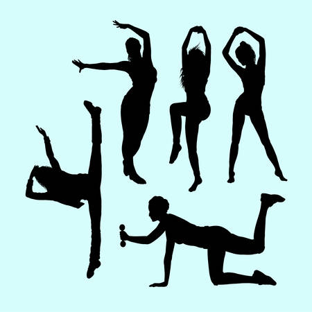 Sport girls activity silhouette. Good use for symbol, logo, web icon, mascot, sign, sticker, or any design you want Illustration