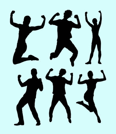 Success, winning and health people silhouette. Good use for symbol, web icon, mascot, logo, sticker design, sign, or any design you want. Easy to use.