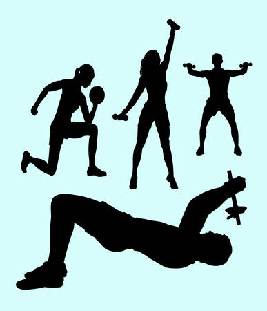 Male and female pilates sport exercise healthy silhouette. Good use for symbol, web icon, mascot, logo, sticker design, sign, or any design you want. Easy to use.