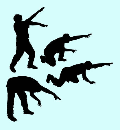 famous actor: Zombie horror male action silhouette. Good use for any design you want. Easy to use or edit Illustration