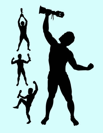 The winner and trophy male pose silhouette. Illustration