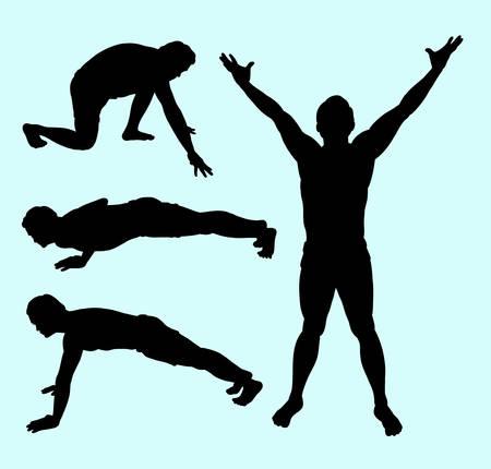 Body building sport male action silhouette. Vektorové ilustrace