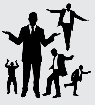 Businessman action silhouette good use for symbol, logo, web icon, mascot, sign, sticker, or any design you want.