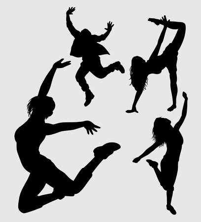fitness and dance silhouette, good use for symbol, web icon, mascot, sticker, or any design you want.
