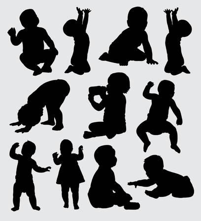 baby actiesilhouet, goed gebruik voor symbool, embleem, Webpictogram, mascotte, teken, sticker, of om het even welk ontwerp u wilt.