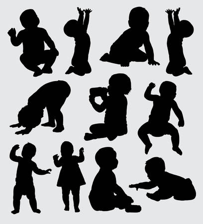 baby action silhouette, good use for symbol, logo, web icon, mascot, sign, sticker, or any design you want. Banco de Imagens - 90623389