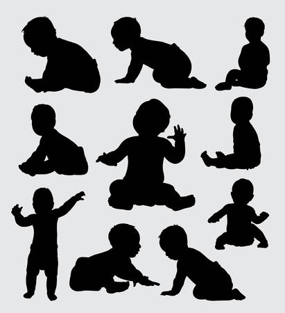 Baby activity silhouette, good use for symbol, logo, web icon, mascot, or any design you want.