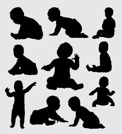 Babyaktivitätsschattenbild, gute Verwendung für Symbol, Logo, Netzikone, Maskottchen oder jedes mögliches Design, das Sie wünschen.