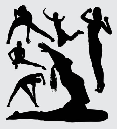 fitness and aerobic silhouette, good use for symbol, logo, web icon, mascot, sticker, or any design you want