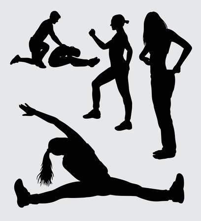 silhouette allenamento e dieta, buon uso per simbolo, icona web, mascotte, adesivo o qualsiasi disegno tu voglia