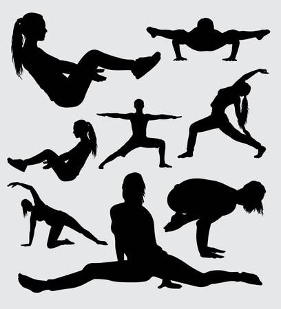 fitness and gymnastic sport silhouette, good use for symbol, logo, web icon, mascot, sticker, sign, or any design you want. Imagens - 90179741