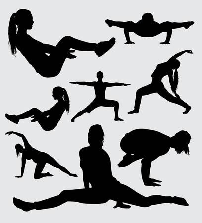 silhueta esportiva de ginástica e ginástica, boa utilização para símbolo, logotipo, web icon, mascote, adesivo, sinal ou qualquer design que você deseja.