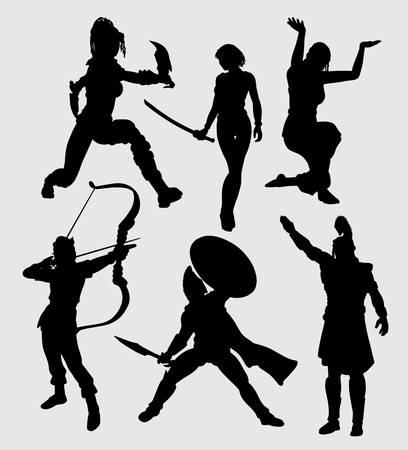 Ludzie z sylwetką broni. dobre wykorzystanie symbolu, logo, ikony internetowej, maskotki lub dowolnego projektu, który chcesz. Logo