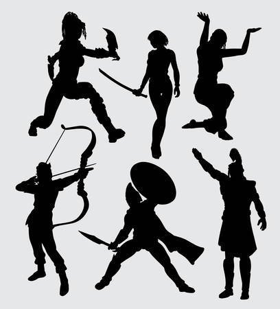 People with weapon silhouette. good use for symbol, logo, web icon, mascot, or any design you want. Ilustracja