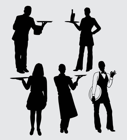 waiter and waitress male and female action silhouette good use for symbol, logo, web icon, mascot, sticker, sign, or any design you want