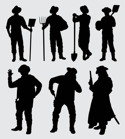 Worker and cowboy male action silhouette good use for symbol, logo, web icon, mascot, sticker, sign, or any design you want. Illustration