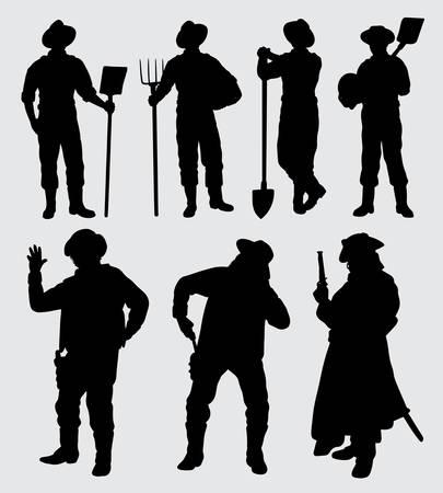 Siluetta di azione maschio del lavoratore e del cowboy buon uso per il simbolo, il logo, l'icona di web, la mascotte, l'adesivo, il segno o qualsiasi disegno che desideri. Archivio Fotografico - 90439530