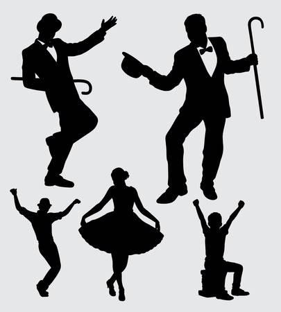 entertainer male and female action silhouette. good use for symbol, logo, web icon, mascot, sticker, sign, or any design you want. Illusztráció