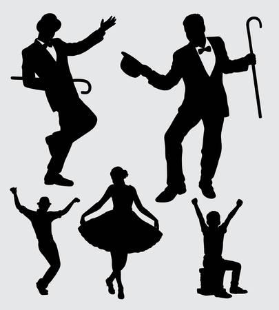 entertainer mannelijk en vrouwelijk actiesilhouet. goed gebruik voor symbool, logo, webpictogram, mascotte, sticker, teken of elk gewenst ontwerp. Stock Illustratie