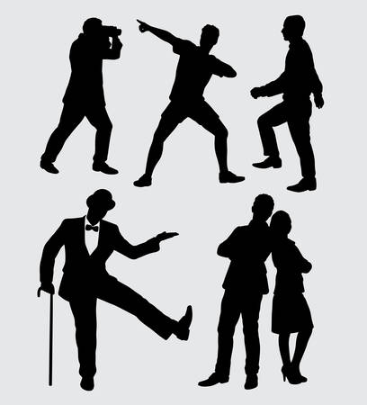 People male and female silhouette. good use for symbol, logo, web icon, mascot, sticker, sign, or any design you want. 일러스트