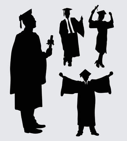 graduation male and female action silhouette. Good use for symbol, logo, web icon, mascot, sign, sticker, or any design you want.