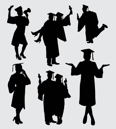 graduation male and female action silhouette. Good use for symbol, logo, web icon, mascot, or any design you want. Çizim