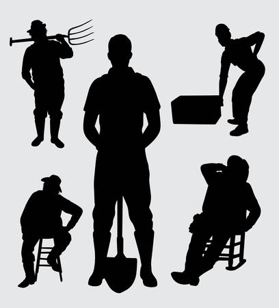 Male worker at work silhouette. good use for symbol, logo, web icon, mascot, sticker, or any design you want.