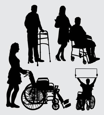 病気の人々と看護師のシルエット。シンボル、ロゴ、ウェブアイコン、マスコット、ステッカー、サインや任意のデザインのための良い使用。
