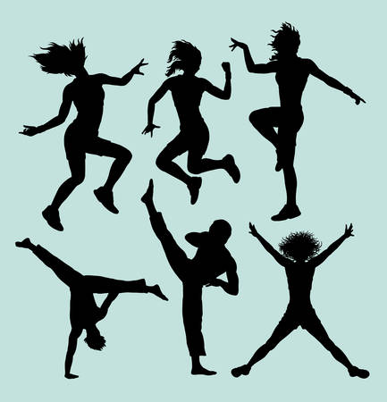 Dancing and martial art silhouette. Good use for symbol, logo, web icon, mascot, sign, or any design you want.